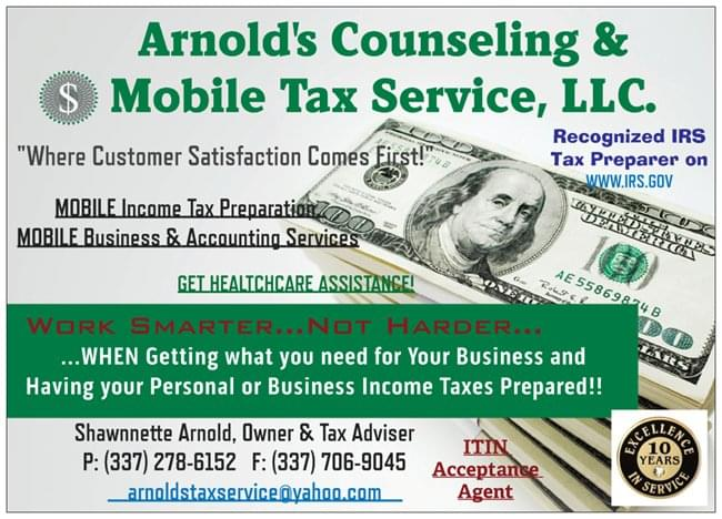 Shawnnette Arnold ARNOLD'S COUNSELING & MOBILE TAX SERVICE, LLC