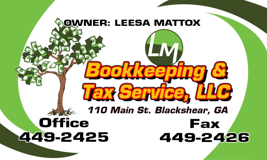 Leesa Mattox Lm Bookkeeping Tax Service Llc Blackshear Ga Tax