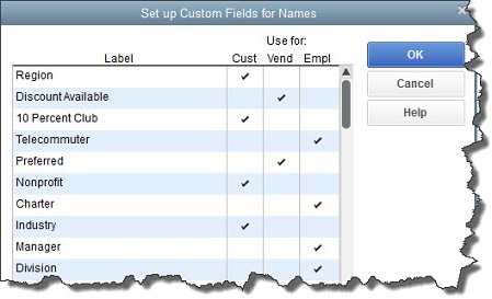 Creating custom fields in Quickbooks