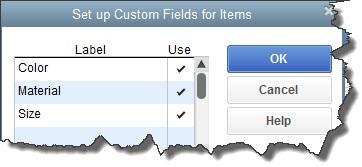 Custom Fields for Items in QuickBooks